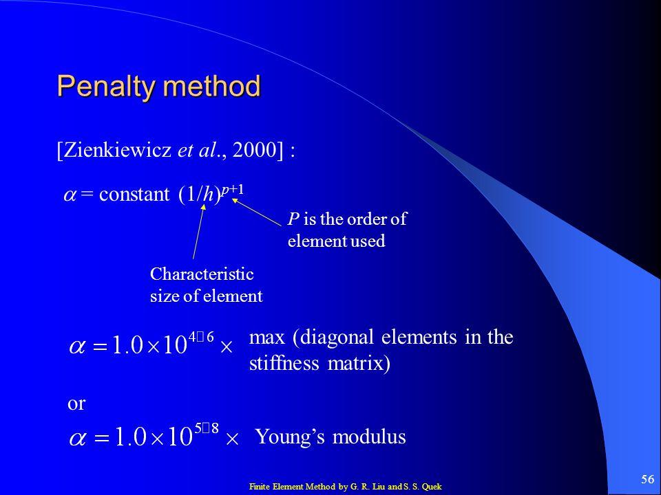 Penalty method [Zienkiewicz et al., 2000] :  = constant (1/h)p+1